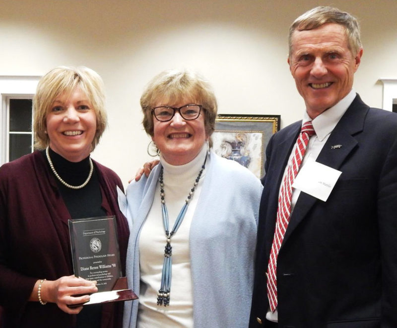 Diane Williams (left) poses after receiving the psychology award
