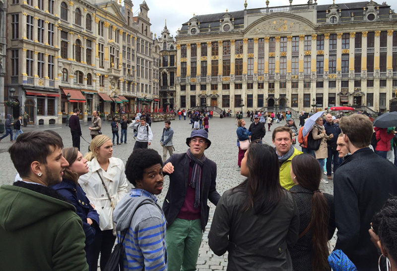FMU students in Brussels with guide, Daniel