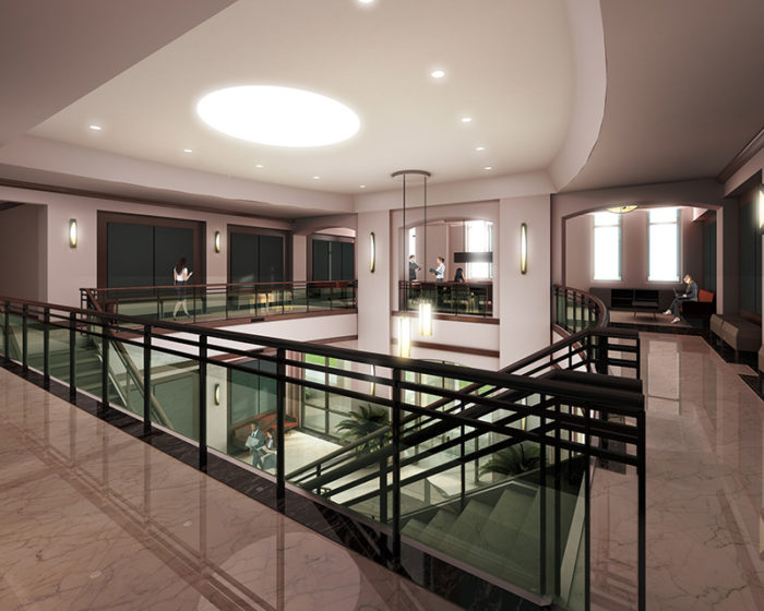 Health Sciences Center rendering upper lobby