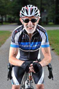 Peter Whelan on his bicycle